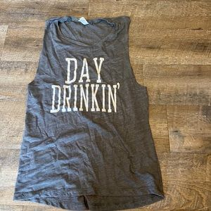 Day Drinking Gray Graphic Tank Top